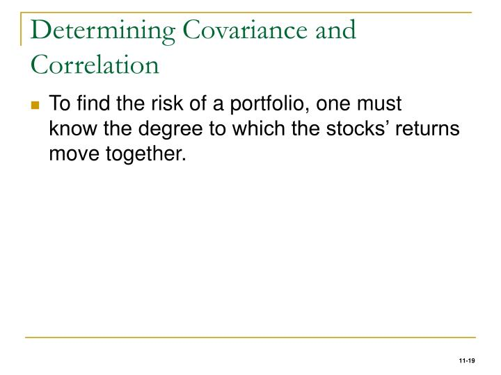 Determining Covariance and Correlation