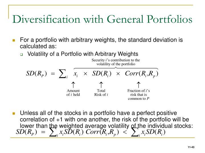 Diversification with General Portfolios