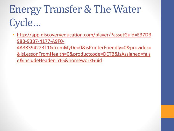 Energy Transfer & The Water Cycle…