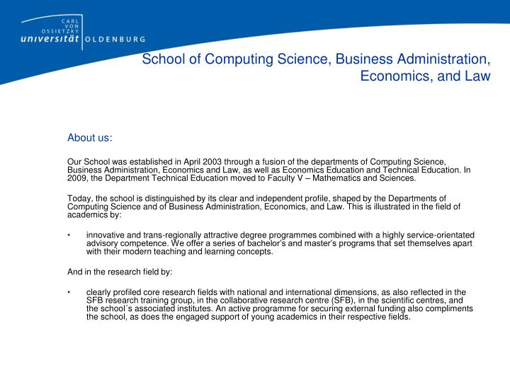 School of computing science business administration economics and law