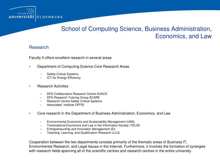 School of Computing Science, Business Administration, Economics, and Law