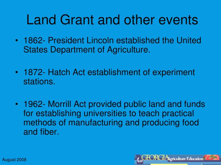 Land grant and other events