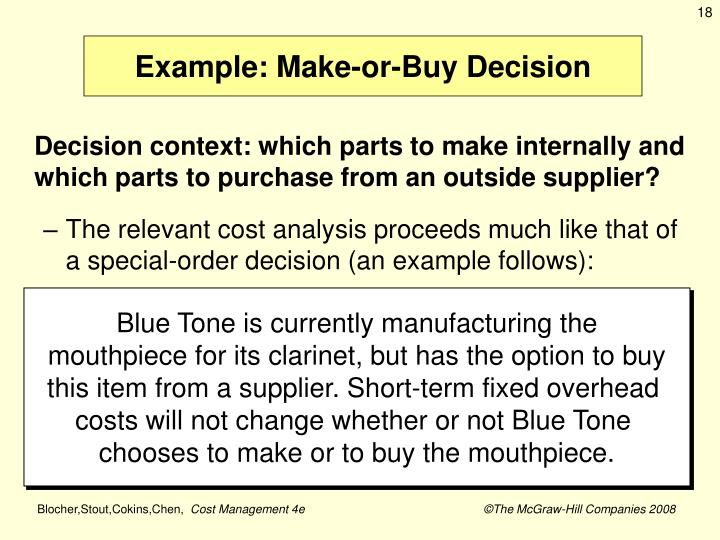 Example: Make-or-Buy Decision