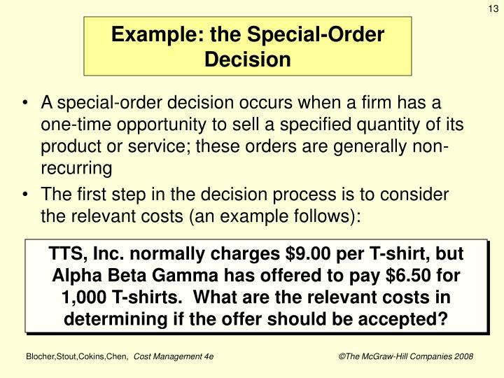 Example: the Special-Order Decision