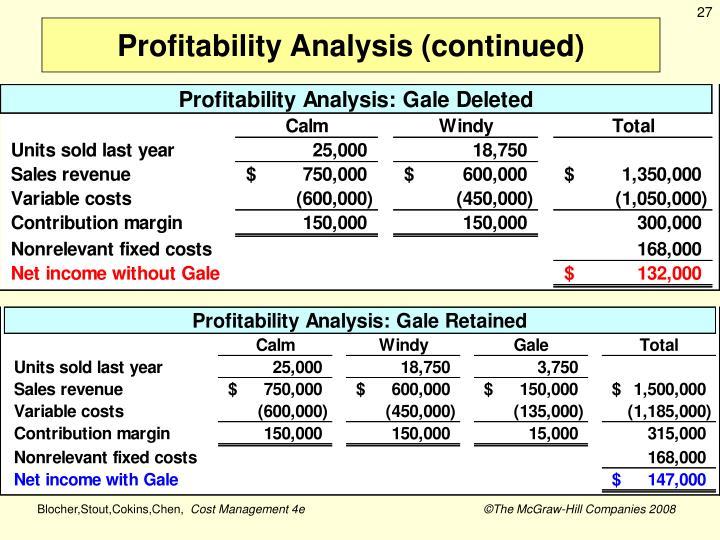Profitability Analysis (continued)