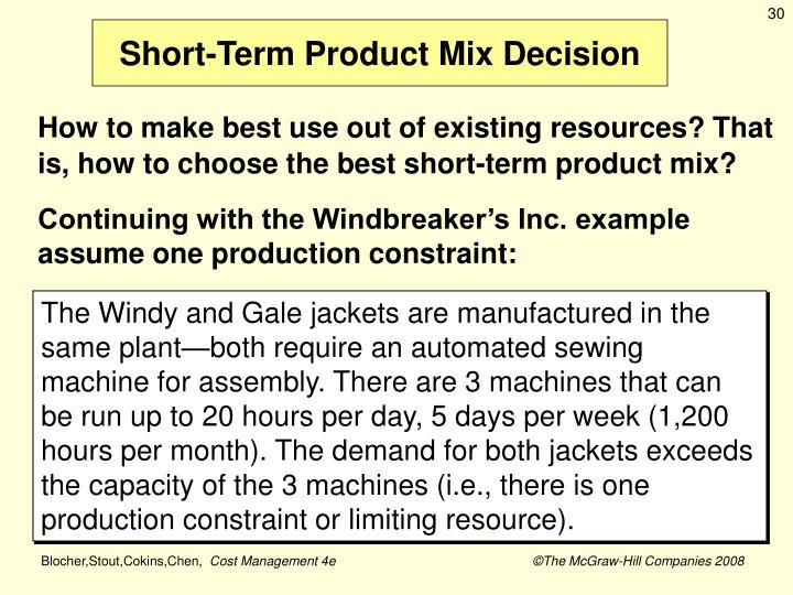 Short-Term Product Mix Decision