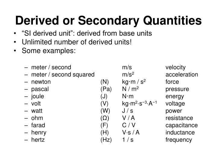 Derived or Secondary Quantities
