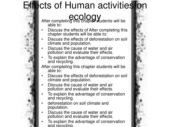 Effects of human activities on ecology