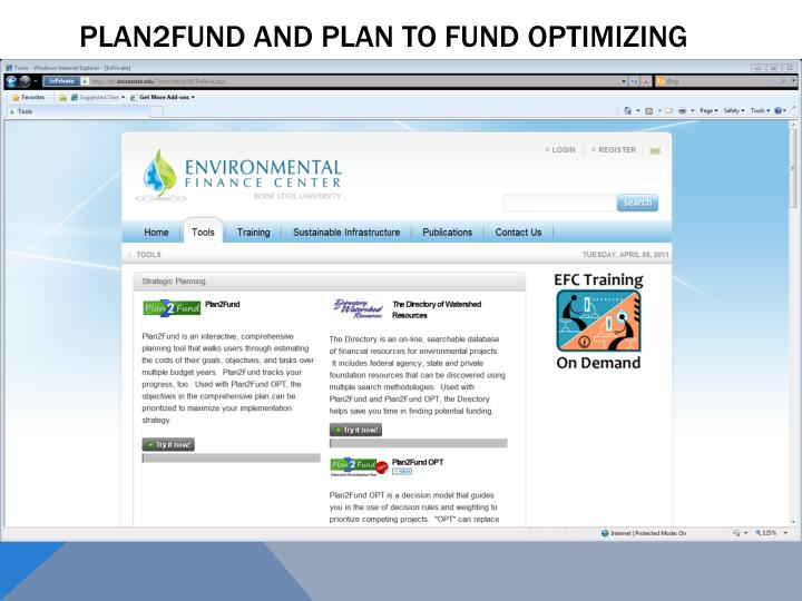 Plan2Fund and Plan to Fund Optimizing