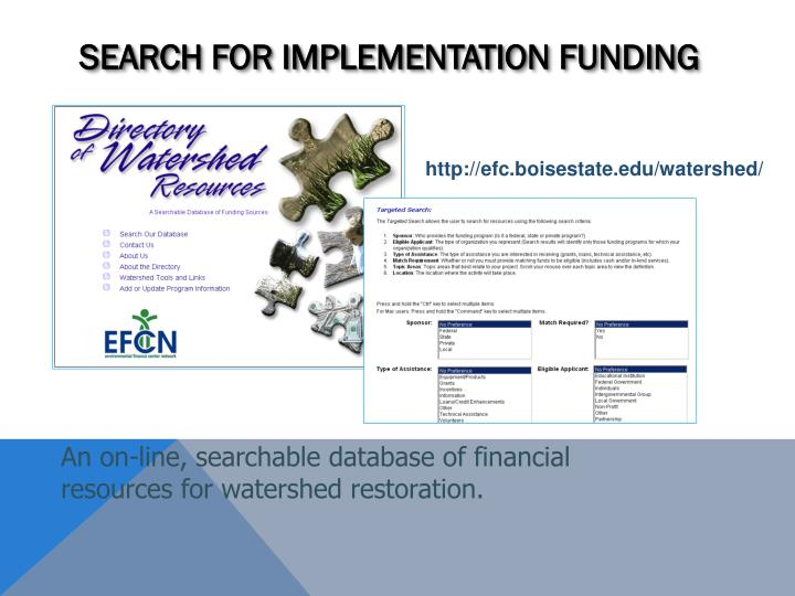 Search for Implementation Funding