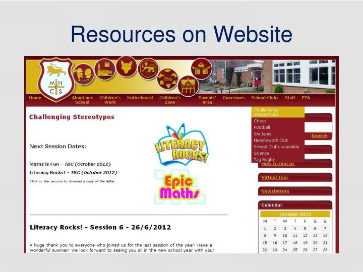 Resources on Website