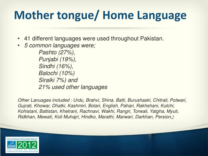 Mother tongue/ Home Language
