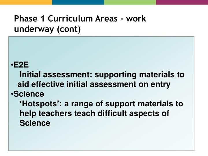 Phase 1 Curriculum Areas - work underway (cont)