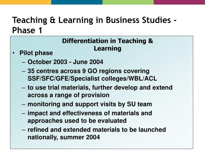 Teaching & Learning in Business Studies - Phase 1