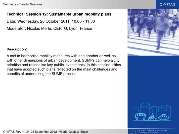 Technical Session 12: Sustainable urban mobility plans