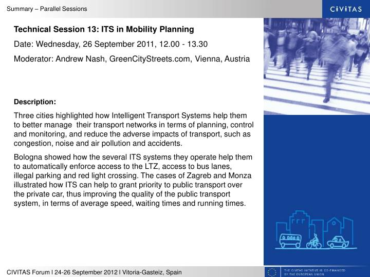 Technical Session 13: ITS in Mobility Planning