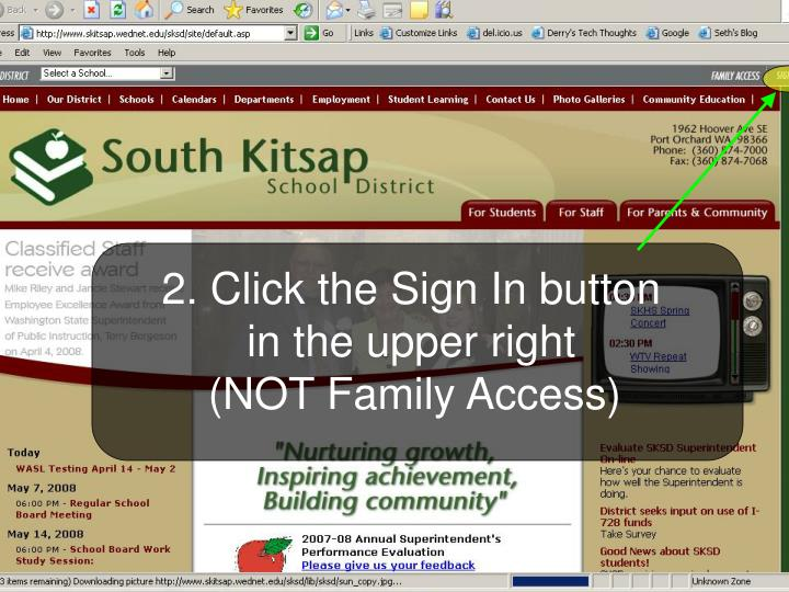 2. Click the Sign In button