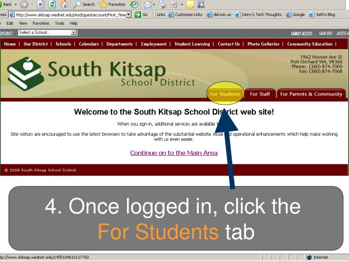 4. Once logged in, click the