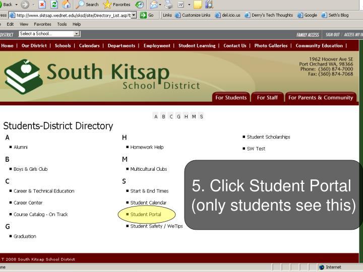 5. Click Student Portal