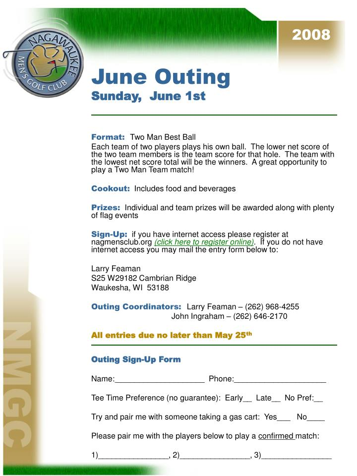 June outing sunday june 1st