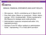 annual financial statements and audit results1