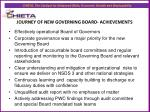 journey of new governing board achievements