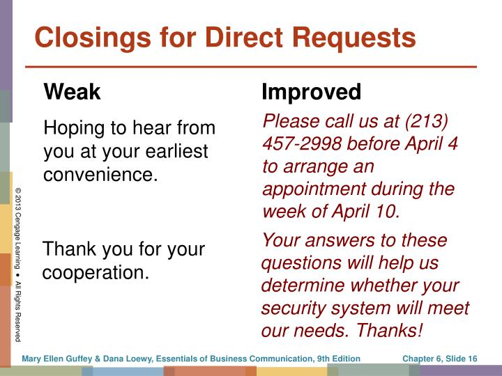 Closings for Direct Requests