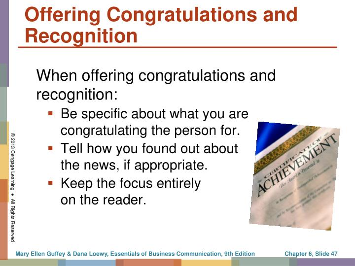 Offering Congratulations and Recognition