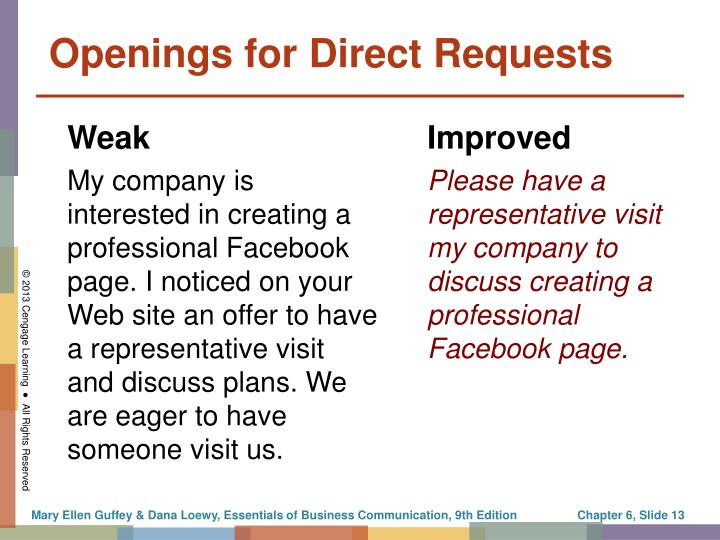 Openings for Direct Requests