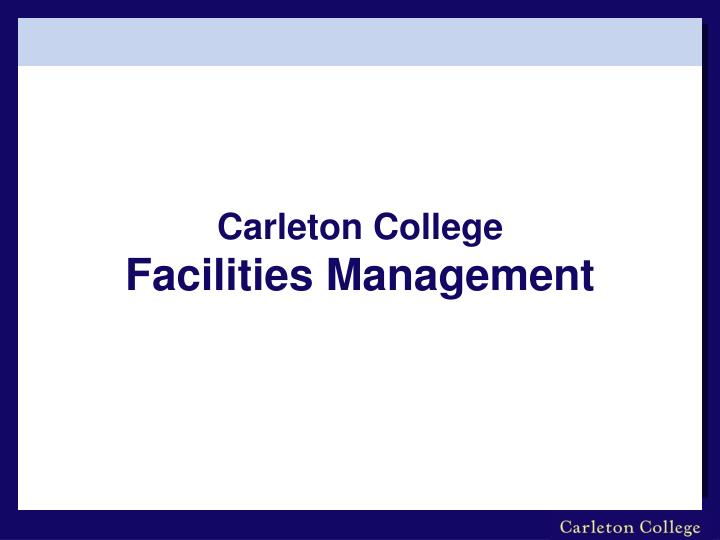 carleton college facilities management n.