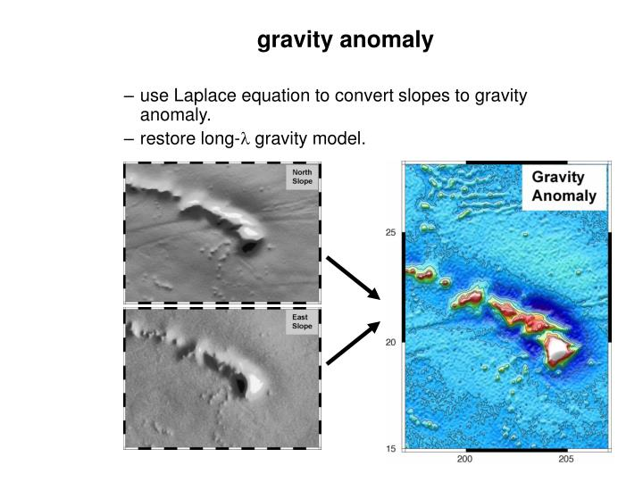use Laplace equation to convert slopes to gravity anomaly.