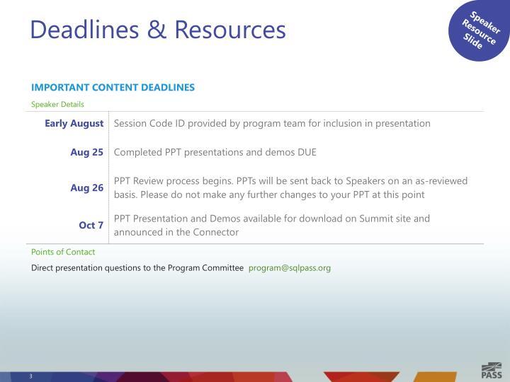 Deadlines resources