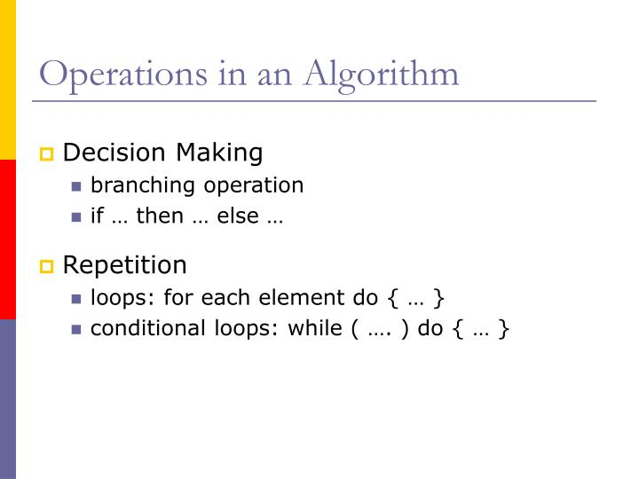 Operations in an Algorithm