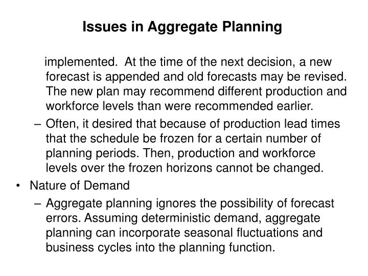Issues in Aggregate Planning