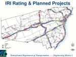 iri rating planned projects