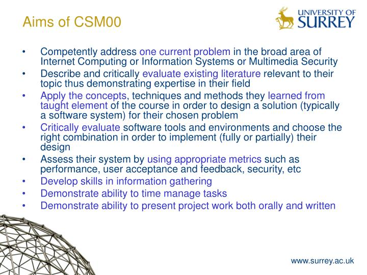 Aims of csm00