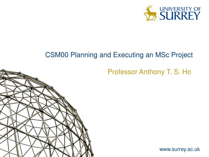 Csm00 planning and executing an msc project