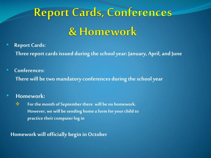 Report Cards, Conferences