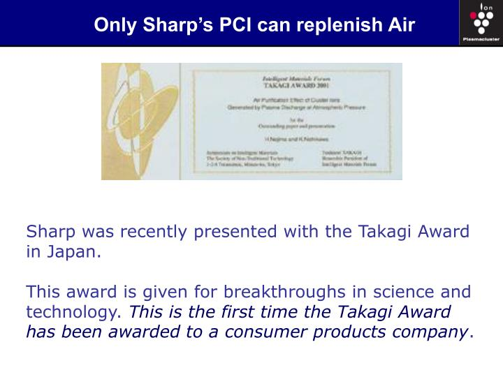 Only Sharp's PCI can replenish Air