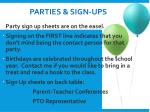 parties sign ups