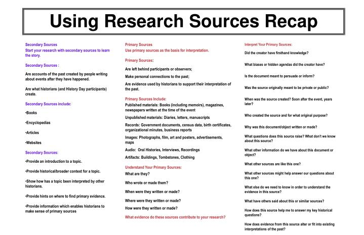 Using Research Sources Recap