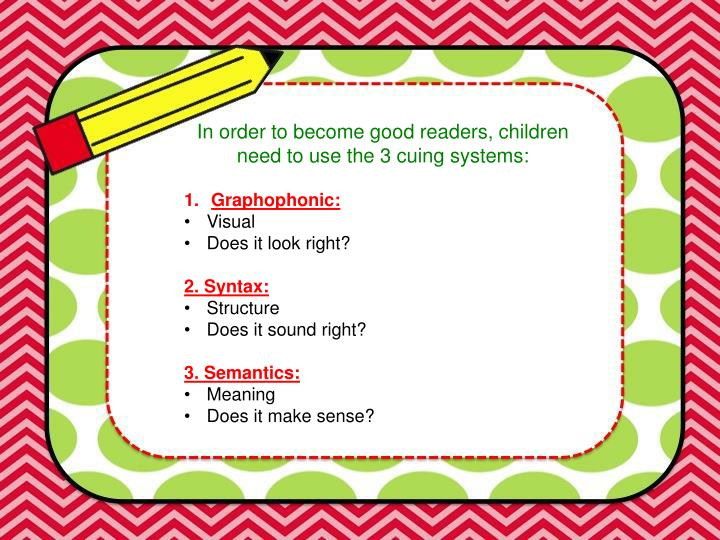 In order to become good readers, children need to use the 3 cuing systems: