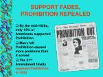 support fades prohibition repealed