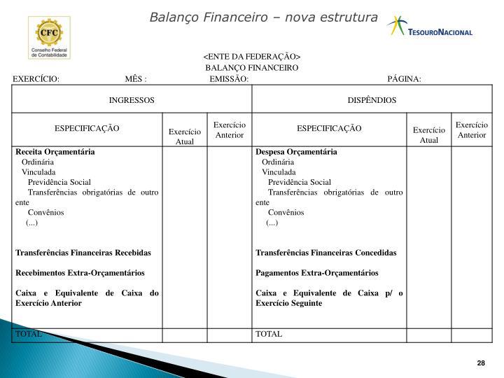 Balanço Financeiro – nova estrutura