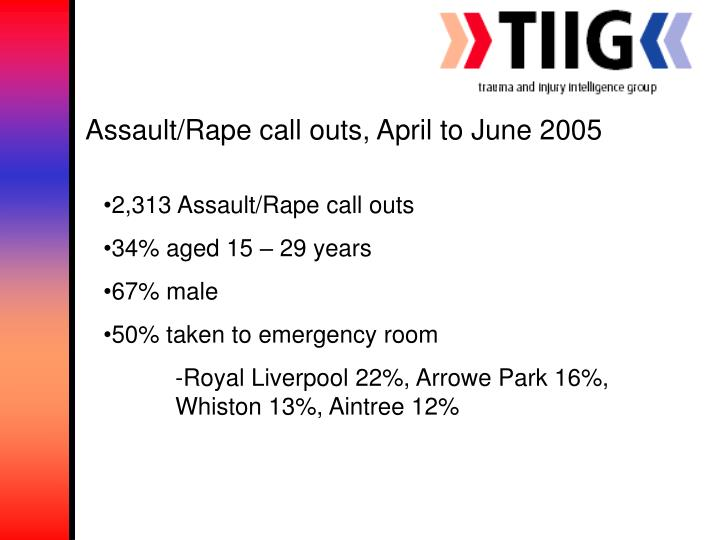 Assault/Rape call outs, April to June 2005
