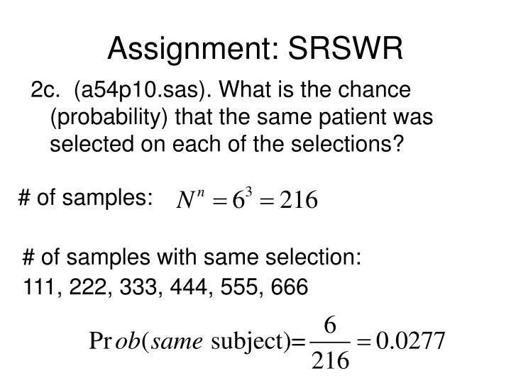 Assignment: SRSWR