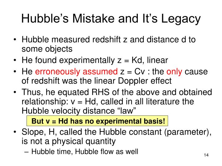 Hubble's Mistake and It's Legacy