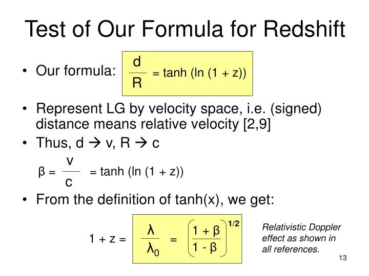 Test of Our Formula for Redshift