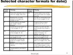 selected character formats for date