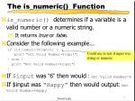 the is numeric function